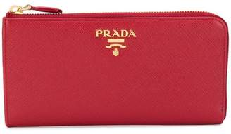 Prada zip around logo wallet