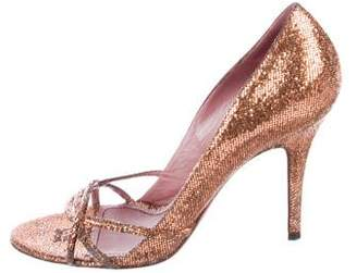Jean-Michel Cazabat Glitter Peep-Toe Pumps