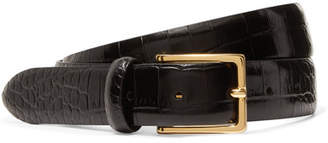 Andersons Anderson's - Croc-effect Leather Belt - Black