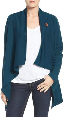 Bobeau One-Button Fleece Wrap Cardigan
