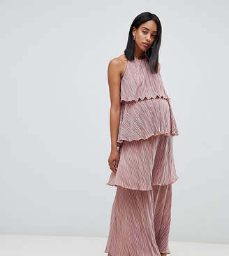 Asos DESIGN Maternity tiered plisse maxi dress