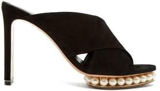 Nicholas Kirkwood Casati Pearl Heeled Suede Platform Mules - Womens - Black