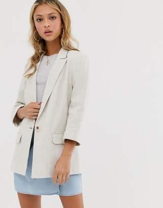 Miss Selfridge linen oversized blazer in stone