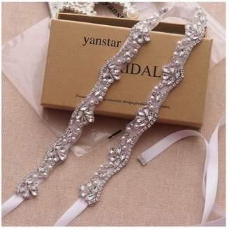 Yanstar Handmade Crystal Bridal Belts Sashes Cream Wedding Belts For Wedding Bridesmaid Dress