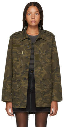 Saint Laurent Khaki Camo Four-Pocket Parka