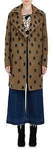 Valentino Women's Embroidered Wool-Blend Double-Breasted Coat - Khaki