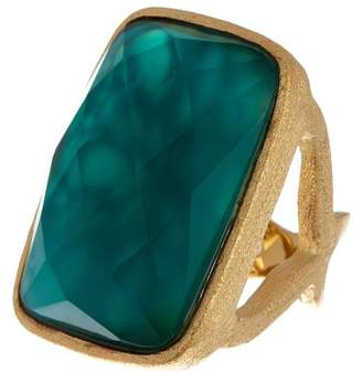 Rivka Friedman Faceted London Blue Crystal & Mother of Pearl Doublet Satin Ring