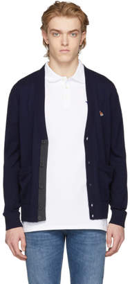 MAISON KITSUNÉ Navy Fox Patch Cardigan