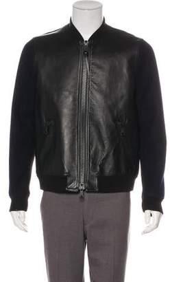 Valentino Leather-Paneled Wool Bomber Jacket