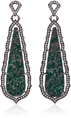Sara Weinstock Taj 18K Oxidized Gold, Uvarovite And Diamond Earrings