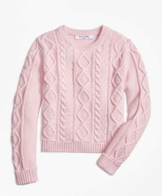 Brooks Brothers Girls Aran Cable Crewneck Sweater