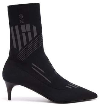 Prada Geometric Stretch Knit Ankle Boots - Womens - Grey Navy