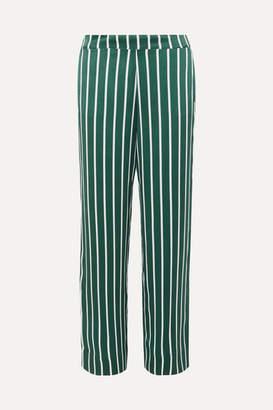 ASCENO - Striped Silk-satin Pajama Pants - Forest green
