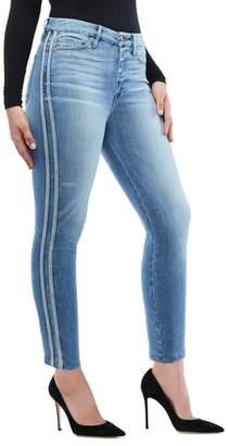 Good American Good Waist Athletic Stripe High Waist Ankle Straight Leg Jeans