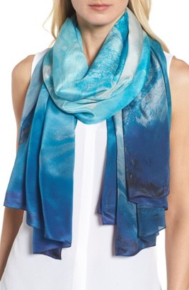Women's Nordstrom Ocean Ombre Silk Wrap $69 thestylecure.com