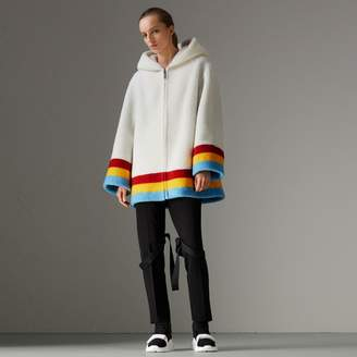 Burberry Faux Shearling Oversized Hooded Jacket , Size: 08, White