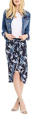 Oasis Tropical Botanical Print Midi Skirt, Blue/Multi
