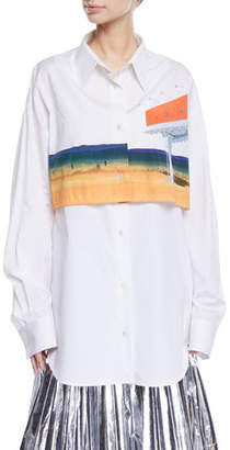Calvin Klein Billboard-Print Overlay Long-Sleeve Button-Down Shirt