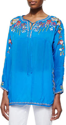Johnny Was Vanessa Georgette Embroidered Tunic $220 thestylecure.com