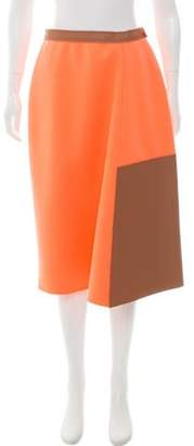Loewe Leather-Accented Knee-Length Skirt w/ Tags
