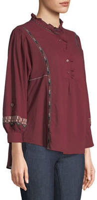 Neiman Marcus Ruffle-Neck Embroidered Button-Front Tunic
