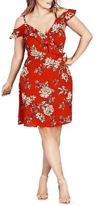 City Chic Plus Wild Floral Cold-Shoulder Dress