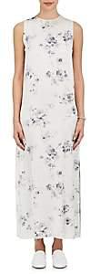 Calvin Klein WOMEN'S SILK CHARMEUSE MAXI DRESS-CHARCOAL BLUE SIZE 44 IT