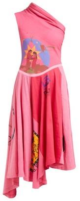 Marine Serre Patchwork One Shoulder Cotton Jersey Dress - Womens - Pink