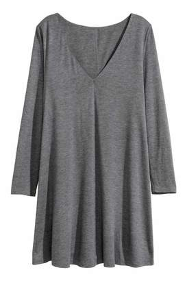 H&M Jersey V-neck Dress - Gray melange - Women