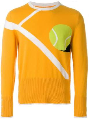 Thom Browne Classic Crewneck Pullover With Tennis Ball Intarsia In Cashmere