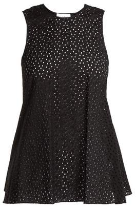 Raey Broderie Anglaise Fishtail Top - Womens - Black