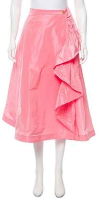 Tome Ruffle-Accented Midi Skirt w/ Tags