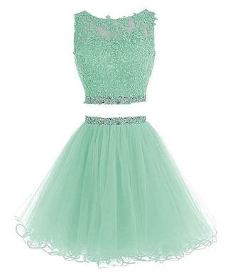 New Sposa 2 Pieces Short Beaded Homecoming Dresses Applique Sweet Prom Dresses