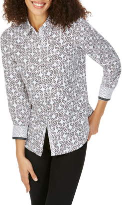 Foxcroft Ava Spanish Tile Print Shirt