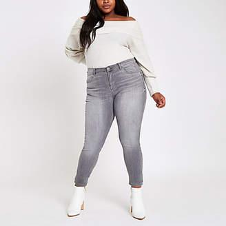 River Island Womens Plus grey Alannah mid rise skinny jeans