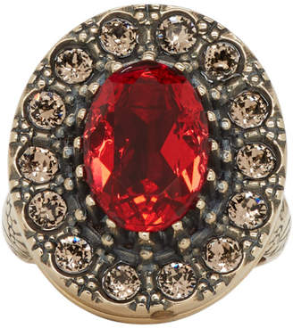 Alexander McQueen Gold and Red Jewelled Ring