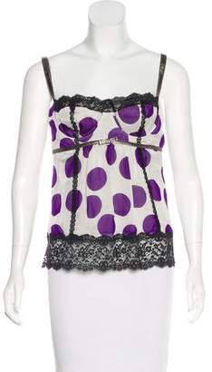 Dolce & Gabbana Leather-Trimmed Silk Top w/ Tags