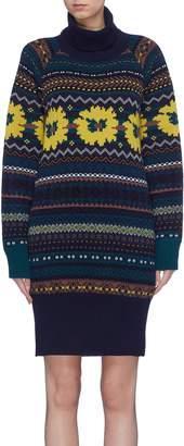 Sacai Cutout back Fair Isle intarsia knit dress