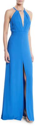 Halston Flowy Keyhole Cutout Sleeveless Gown