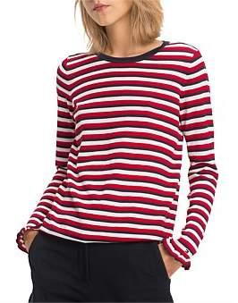 Tommy Hilfiger Stripe Injection Frill Stripe Crew Neck Sweater