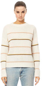360 Cashmere Parker Striped Cashmere Sweater - XS - White/Wood