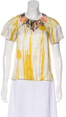 Dries Van Noten Embroidered Silk Top