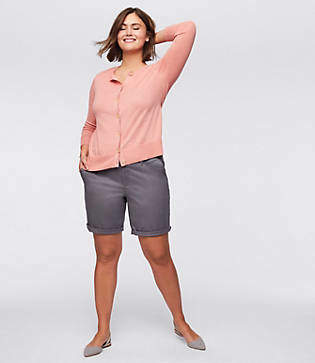LOFT Plus Bermuda Roll Shorts
