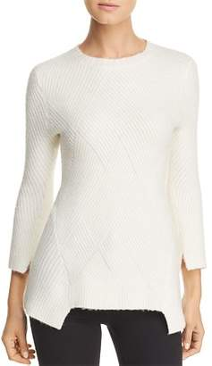 Heather B Ribbed Notch-Hem Sweater