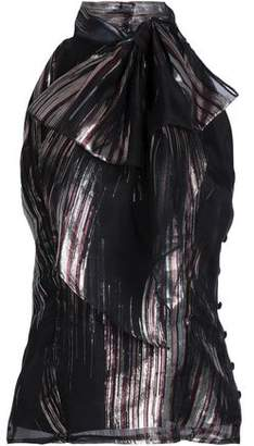 Milly Bow-Detailed Lamé And Silk-Blend Organza Top