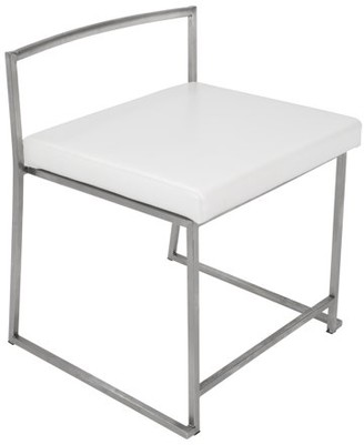 Lumisource Fuji Contemporary Stackable Dining Chair in White Faux Leather by Set of 2