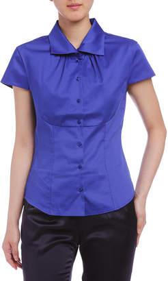 Naracamicie (ナラカミーチェ) - NARACAMICIE 襟元ギャザー ワイドカラー ショートスリーブシャツ ブルー 1