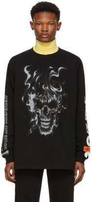 Heron Preston Black Skull Long Sleeve T-Shirt