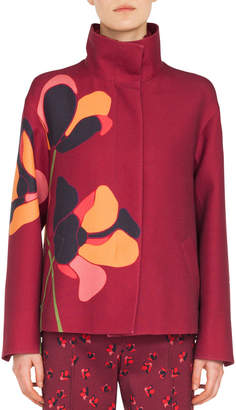 Akris Punto Stand-Collar Anemone-Floral Embroidered Wool Jacket