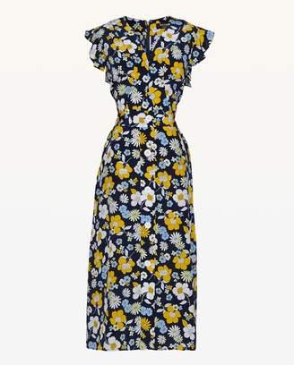Juicy Couture Garden Floral Silk Midi Dress